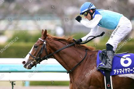 Admire Mars ( Mirco Demuro) - Horse Racing : Jockey Mirco Demuro riding Admire Mars celebrates after winning the Asahi Hai Futurity Stakes at Hanshin Racecourse in Hyogo, Japan.