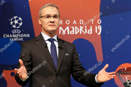 UEFA competitions director Giorgio Marchetti reacts during the drawing ceremony of the UEFA Champions League 2018/19 Round of 16 matches at the UEFA headquarters in Nyon, Switzerland, 17 December 2018.