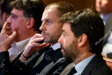 UEFA President Aleksander Ceferin (C) and Chairman of the European Club Association, ECA, Italy's Andrea Agnelli (R) attend the drawing ceremony of the UEFA Champions League 2018/19 Round of 16  matches at the UEFA headquarters in Nyon, Switzerland, 17 December 2018.