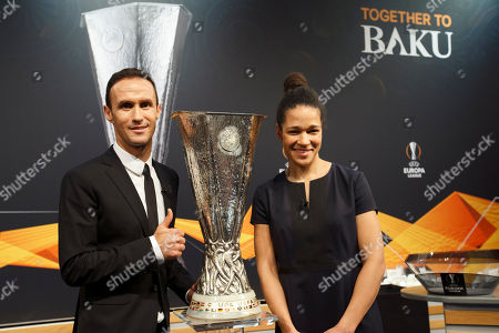 Former soccer player Ricardo Carvalho of Portugal  and former soccer player Celia Sasic of Germany pose during the drawing ceremony of the UEFA Europa League 2018/19 Round of 32 matches at the UEFA headquarters in Nyon, Switzerland, 17 December 2018.