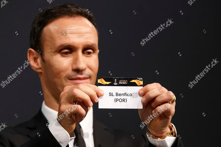 Former soccer player Ricardo Carvalho of Portugal shows the lot of SL Benfica during the drawing ceremony of the UEFA Europa League 2018/19 Round of 32 matches at the UEFA headquarters in Nyon, Switzerland, 17 December 2018.