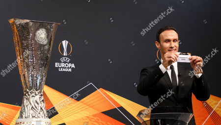 Former soccer player Ricardo Carvalho of Portugal shows the lot of FC Arsenal during the drawing ceremony of the UEFA Europa League 2018/19 Round of 32 matches at the UEFA headquarters in Nyon, Switzerland, 17 December 2018.