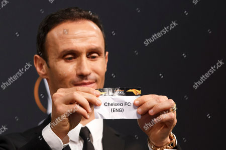 Former soccer player Ricardo Carvalho of Portugal shows the lot of Chelsea FC during the drawing ceremony of the UEFA Europa League 2018/19 Round of 32 matches at the UEFA headquarters in Nyon, Switzerland, 17 December 2018.