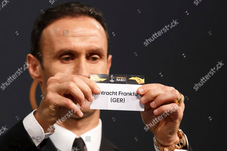 Former soccer player Ricardo Carvalho of Portugal shows the lot of Eintracht Frankfurt during the drawing ceremony of the UEFA Europa League 2018/19 Round of 32 matches at the UEFA headquarters in Nyon, Switzerland, 17 December 2018.