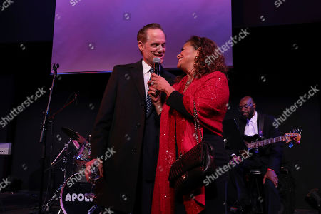 Debbie Allen, Michael Weinstein. AHF President Michael Weinstein stands with 2018 AHF Lifetime Achievement Award honoree, Debbie Allen at the pre- reception for the AHF World AIDS Day commemoration at the historic Apollo Theater, in New York