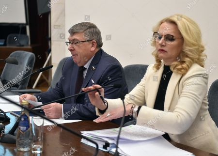 Russian Deputy Prime Minister Tatyana Golikova (right) and representative in the Federation Council of Russia from the legislative authority of the Kursk Region Valery Ryazansky (left) during the seminar.