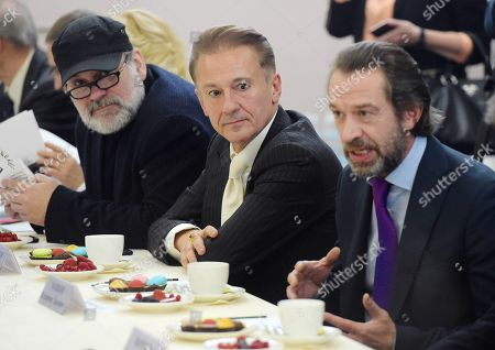 Stock Image of Left to right: Andrey Moguchiy, artistic director of Tovstonogov Theater; Oleg Menshikov, artistic director of the Ermolova Theater; and Vladimir Mashkov, artistic director of the Tabakov Moscow Theater