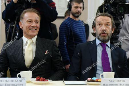 Stock Photo of Oleg Menshikov (left), artistic director of the Ermolova Theater; and Vladimir Mashkov (right), artistic director of the Tabakov Moscow Theater