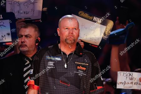 Raymond van Barneveld with his game face on, about to walk-on in his penultimate World Championship after announcing his retirement after next year's 2019/2020 Championship during the World Championship Darts 2018 at Alexandra Palace, London