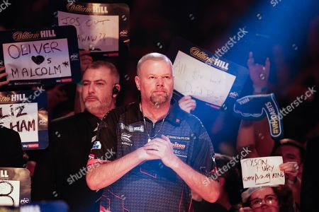 COLOUR CORRCETED Raymond van Barneveld with his game face on, about to walk-on in his penultimate World Championship after announcing his retirement after next year's 2019/2020 Championship during the World Championship Darts 2018 at Alexandra Palace, London