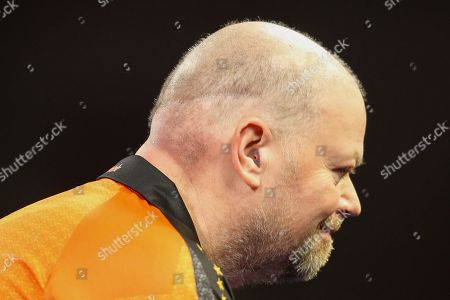 Raymond van Barneveld, earplugs clearly visible, during the World Championship Darts 2018 at Alexandra Palace, London