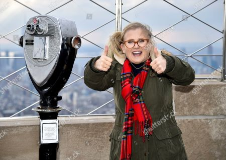 Nancy Cartwright, who voices the character Bart Simpson, gestures during Fox's 'The Simpsons' 30th anniversary celebration at the Empire State Building, in New York