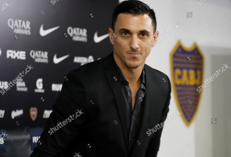 Stock Photo of Former Argentinian soccer player Nicolas Burdisso speaks during his presentation as manager of Boca Juniors, in Buenos Aires, Argentina, 17 December 2018. As player, Burdisso was member of Boca Juniors, AC Milan, AS Rome, Genoa CFC, Torino FC and Argentina national soccer team.