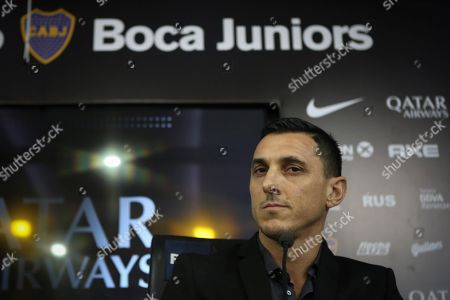 Former Argentinian soccer player Nicolas Burdisso speaks during his presentation as manager of Boca Juniors, in Buenos Aires, Argentina, 17 December 2018. As player, Burdisso was member of Boca Juniors, AC Milan, AS Rome, Genoa CFC, Torino FC and Argentina national soccer team.