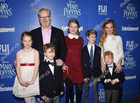 "Jim Gaffigan, Jeannie Gaffigan. Comedian Jim Gaffigan, left, wife Jeannie Gaffigan and their kids attend a special screening of Disney's ""Mary Poppins Returns"", hosted by The Cinema Society, at the SVA Theatre, in New York"