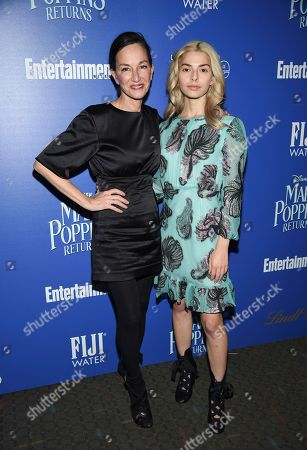"""Cynthia Rowley, Kit Keenan. Fashion designer Cynthia Rowley, left, and daughter Kit Keenan attend a special screening of Disney's """"Mary Poppins Returns"""", hosted by The Cinema Society, at the SVA Theatre, in New York"""
