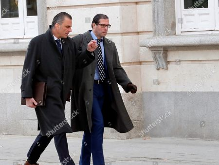 Javier Ortega (L), Spanish far-right Vox party's secretary general, and Pedro Fernandez, party's legal deputy secretary, arrive at Spain's High Court in Madrid, Spain, 18 December 2018. Vox carries on the private prosecution against Catalan defendants. The magistrates of the court are to deliberate in a hearing if the Court is competent for judging the known as 'Proces' case, which several Catalan separatist leaders are prosecuted for their role in illegal Catalan secession referendum on 01 October 2017 and a bid to break away from Spain that was ruled to be illegal by Spain's judiciary.