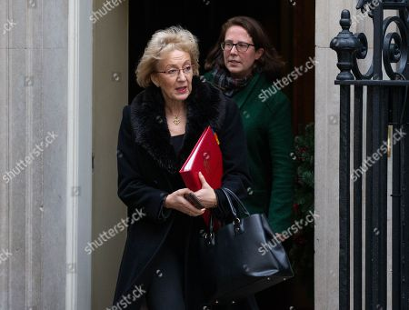Andrea Leadsom, Leader of the House of Commons, Lord President of the Council, and Baroness Evans of Bowes Park, Leader of the House of Lords, Lord Privy Seal, leave the Cabinet meeting in Downing Street.