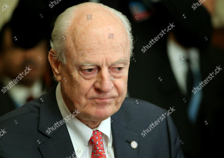 United Nations Special Envoy for Syria Staffan de Mistura attends a meeting on forming a constitutional committee in Syria at the United Nations in Geneva, Switzerland,  18 December 2018.