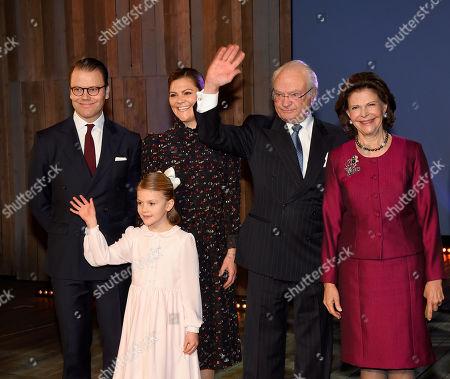 Prince Daniel, Crown Princess Victoria, Princess Estelle, King Carl Gustaf, Queen Silvia
