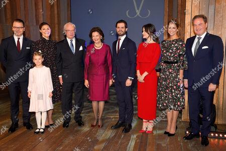 Prince Daniel, Crown Princess Victoria, Princess Estelle, King Carl Gustaf, Queen Silvia, Prince Carl Philip, Princess Sofia of Sweden, Princess Madeleine, Chris O'Neill