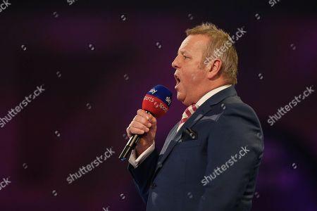 MC John McDonald during the Darts World Championship 2018 at Alexandra Palace, London