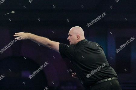 James Bailey winning the first leg of the match, and his first ever leg in a PDC World Championship, during the Darts World Championship 2018 at Alexandra Palace, London