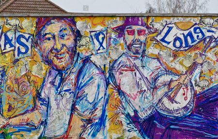 Editorial photo of Memorial graffitti to Chas Hodges from Chas and Dave, Cowley, Oxford, UK - 18 Dec 2018