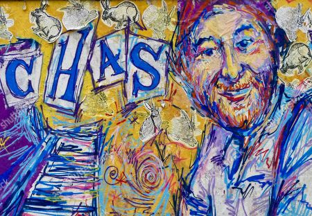 Editorial image of Memorial graffitti to Chas Hodges from Chas and Dave, Cowley, Oxford, UK - 18 Dec 2018
