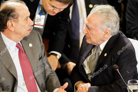 Stock Photo of Aloysio Nunes, Michel Temer. Brazil's outgoing Foreign Minister Aloysio Nunes and outgoing President Michel Temer, attend the 53rd Mercosur Summit in Montevideo, Uruguay, . The South American trading bloc that includes founding members Brazil, Argentina, Paraguay, and Uruguay, is one of the world's largest