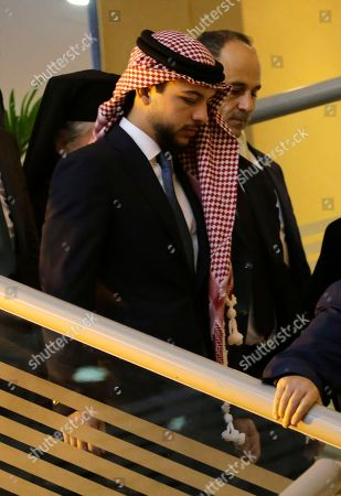 Crown Prince of Jordan Al Hussein bin Abdullah (L) arrives to attend the Churches Christmas and New Year celebration event at King Hussein Cultural Center, in Amman, Jordan, 18 December 2018. Jordan's King Abdullah II and his guest Palestinian President Mahmoud Abbas attended the celebration along with leaders of Catholic, Orthodox, and Coptic churches in Jordan and Palestine as well as Muslim dignitaries.