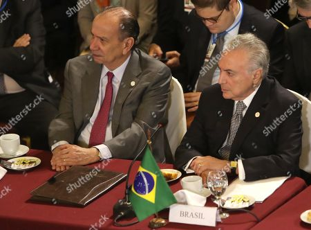 Stock Picture of The President of Brazil, Michel Temer (R), and the Brazilian Foreign Minister, Aloysio Nunes (L), participate in the summit of presidents of Mercosur and associated states, in Montevideo, Uruguay, 18 December 2018. Uruguay transferred the pro tempore presidency of the South American bloc to Argentina, which will seek to 'reposition' the region on a global level, according to Argentinian President Mauricio Macri during the summit.
