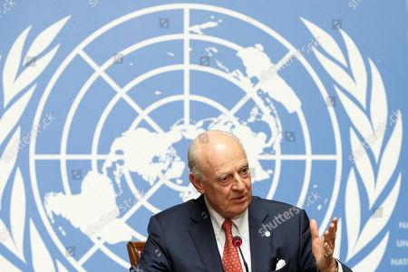 Stock Picture of UN Special Envoy for Syria Staffan de Mistura speaks to the media after the consultations on Syria, at the European headquarters of the United Nations in Geneva, Switzerland, 18 December 2018. High-level representatives of Russia, Turkey and Iran meet with the UN Special Envoy for Syria on the situation in Syria.