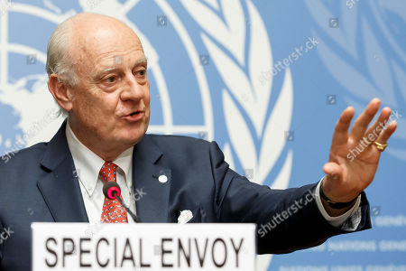 Stock Image of UN Special Envoy for Syria Staffan de Mistura speaks to the media after the consultations on Syria, at the European headquarters of the United Nations in Geneva, Switzerland, 18 December 2018. High-level representatives of Russia, Turkey and Iran meet with the UN Special Envoy for Syria on the situation in Syria.