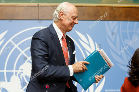 UN Special Envoy for Syria Staffan de Mistura leaves the press conference after the consultations on Syria, at the European headquarters of the United Nations in Geneva, Switzerland, 18 December 2018. High-level representatives of Russia, Turkey and Iran meet with the UN Special Envoy for Syria on the situation in Syria.