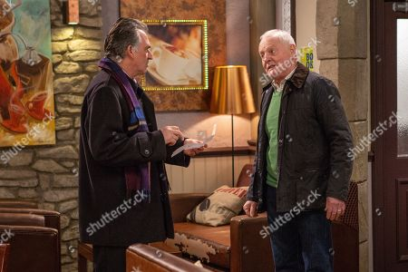Stock Image of Ep 8369 Thursday 17th January 2019 - 1st Ep  Eric Pollard, as played by Chris Chittell, tells broke Bob Hope, as played by Tony Audenshaw, he need to pay his B&B bill.