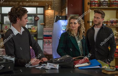 Stock Picture of Ep 8368 Wednesday 16th January 2019 Jacob Gallagher, as played by Joe Warren Plant, and Maya, as played by Louisa Clein, have their hearts in their mouths as David Metcalfe, as played by Matthew Wolfenden, questions her over her behaviour with her phone previously.