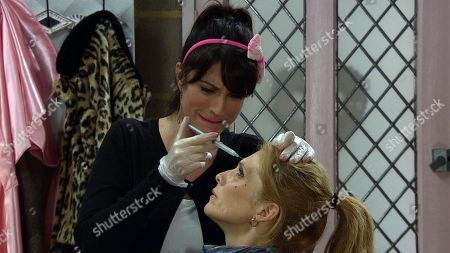 Ep 8356 Wednesday 2nd January 2019 Feeling insecure once more Bernice Blackstock, as played by Samantha Giles, decides to go ahead with Botox and Kerry Wyatt, as played by Laura Norton, starts to inject Bernice with the Botox. Panic sets in when they realise Bernice is having a reaction and struggling to breathe.