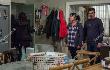 Ep 8368 Wednesday 16th January 2019 Debbie Dingle, as played by Charley Webb, realises Moira Dingle, as played by Natalie J Robb, knew about Joe too. Unable to take it anymore, enraged Cain Dingle, as played by Jeff Hordley, snaps and losing it pushes Moira against a wall. Can the two main women in his life ever forgive him now?