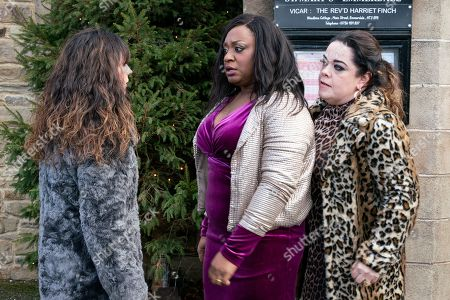 Ep 8359 Monday 7th January 2019 A vulnerable Chas Dingle, as played by Lucy Pargeter, leaves a message on Paddy Kirk's phone - feeling the strain she sets off to find him. However, all hell breaks loose as an emotional Chas finally snaps and attacks Mandy, as played by Lisa Riley, as Jesse Grant, as played by Sandra Marvin, steps in.