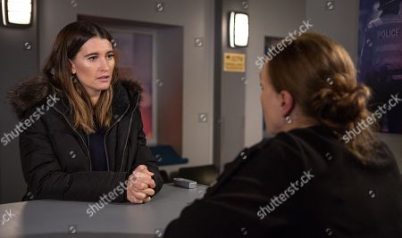 Ep 8360 & 8361 Tuesday 8th January 2019 Confused, and worried, Debbie Dingle, as played by Charley Webb, arrives at the police station and reports Joe as a missing person.