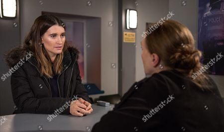 Stock Photo of Ep 8360 & 8361 Tuesday 8th January 2019 Confused, and worried, Debbie Dingle, as played by Charley Webb, arrives at the police station and reports Joe as a missing person.