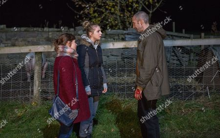 Ep 8360 & 8361 Tuesday 8th January 2019 Lydia, as played by Karen Blick, receives a frantic phone call from Sam Dingle, as played by James Hooton, and when she and Belle Dingle, as played by Eden Taylor-Draper, arrive at the Dingles, they see he's covered in blood and Gloria the pig has been killed.