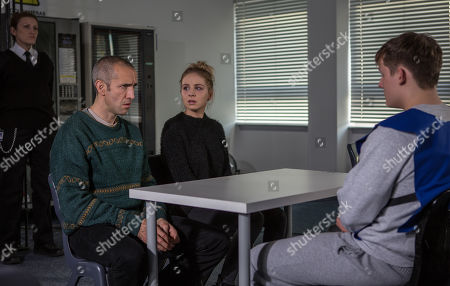 Stock Picture of Ep 8360 & 8361 Tuesday 8th January 2019 Accompanied by Sam Dingle, as played by James Hooton, and Belle Dingle, as played by Eden Taylor-Draper, faces her former boyfriend. Belle isn't fooled by Lachlan White's, as played by Thomas Atkinson, display of remorse but Sam believes he's genuinely changed.