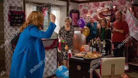 Ep 8351 Friday 28th December 2018  Bernice Blackstock, as played by Samantha Giles, is in denial about her upcoming 50th birthday and freaks when she thinks Diane might have told Liam her age. Before long Bernice is furious when she sees the Salon decorated for her 50th. Determined to hate every second she pops all the balloons. With Diane Sugden, as played by Elizabeth Estensen ; Rodney Blackstock, as played by Patrick Mower ; Jimmy King, as played by Nick Miles.