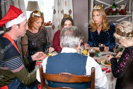 Ep 8347 Tuesday 25th December 2018  The rift between Nicola King, as played by Nicola Wheeler, and Bernice Blackstock, as played by Samantha Giles, is a gaping chasm and soon Rodney arrives attempting to unite the sisters by inviting them all to dinner. Jimmy is thrilled to escape his cooking duties but Nicola braces herself for the day ahead. Things go from bad to worse when on arriving they realise they are not welcome and Liam dishes up tiny portions for the unexpected guests. Could this meal go from bad to worse especially as trifle is on the menu? With Diane Sugden, as played by Elizabeth Estensen ; Rodney Blackstock, as played by Patrick Mower ; Liam Cavanagh, as played by Jonny McPherson.