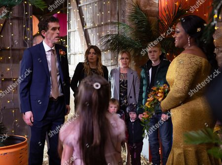 Ep 8347 Tuesday 25th December 2018  Soon the guests start to arrive, oblivious to the fact they're actually attending a wedding and soon they are shocked to see Jessie Grant, as played by Sandra Marvin, in a wedding dress. Will the wedding go smoothly especially after Marlon Dinlge, as played by Mark Charnock, faints when it's revealed it is in fact his own wedding day. Whilst poor Sam Dingle, as played by James Hooton, is crushed to learn he's got it all wrong. With Noah Dingle, as played by Jack Downham ; Charity Dingle, as played by Emma Atkins ; Vanessa Woodfield, as played by Michelle Hardwick.