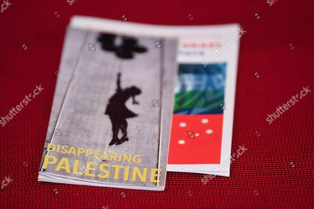 A pamphlet on Palestine is seen on a chair during day three of the Labor Party National Conference in Adelaide, South Australia, Australia, 18 December 2018. Labor's 48th National Conference is being held at the Adelaide Convention Centre from 16 to 18 December 2018.