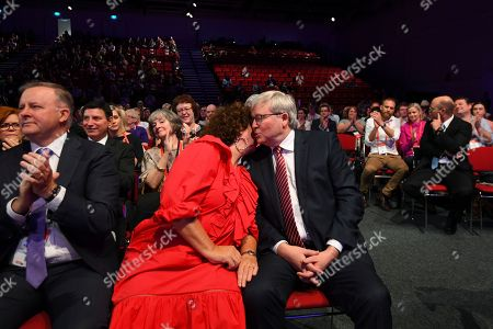 Former Australian prime minister Kevin Rudd (R) and his wife Therese Rein react as they listen to a speech by Australian Opposition leader Bill Shorten ahead of receiving the Labor Life Membership during day three of the Labor Party National Conference in Adelaide, South Australia, Australia, 18 December 2018. Labor's 48th National Conference is being held at the Adelaide Convention Centre from 16 to 18 December 2018.