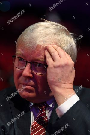 Former Australian Prime Minister Kevin Rudd listens to a speech by Australian Opposition leader Bill Shorten ahead of receiving the Labor Life Membership during day three of the Labor Party National Conference in Adelaide, South Australia, Australia, 18 December 2018. Labor's 48th National Conference is being held at the Adelaide Convention Centre from 16 to 18 December 2018.